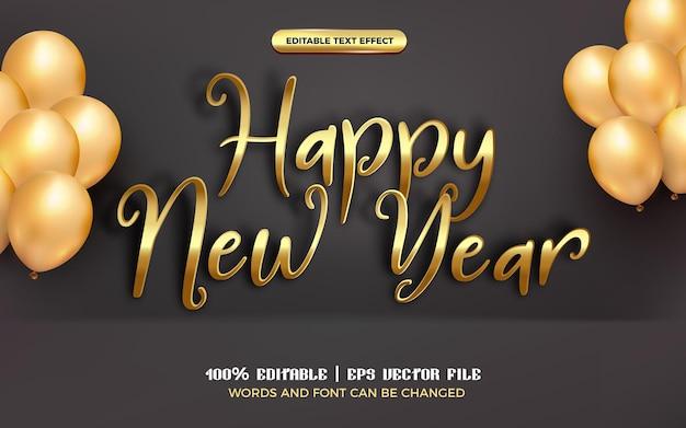 Felice anno nuovo effetto testo modificabile in oro con palloncino