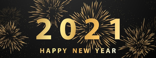 Felice anno nuovo fuochi d'artificio d'oro e banner festa di celebrazione a tema natalizio