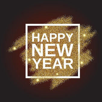 Felice anno nuovo su sfondo glitter oro