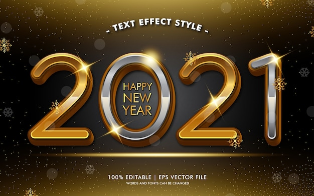 Stile di effetti di testo glitter oro felice anno nuovo