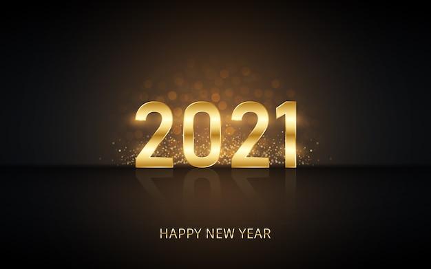 Felice anno nuovo in oro con glitter scoppi e riflessi su sfondo di colore nero