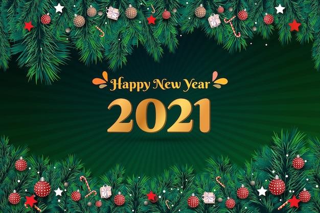 Felice anno nuovo sfondo verde con golden 2021