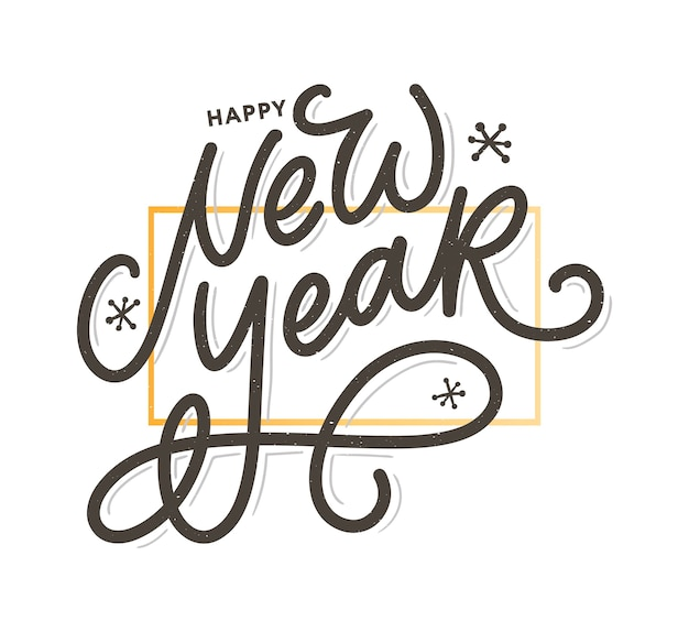 Felice anno nuovo saluto calligrafia testo nero parola oro fuochi d'artificio.