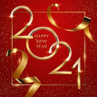 Modello di biglietto di auguri di felice anno nuovo. design festivo di banner di social media di natale con congratulazioni, numero 2021 dorato nel telaio con illustrazione realistica di coriandoli