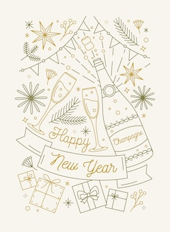 Modello di biglietto di auguri di felice anno nuovo con bottiglia di spumante e bicchieri
