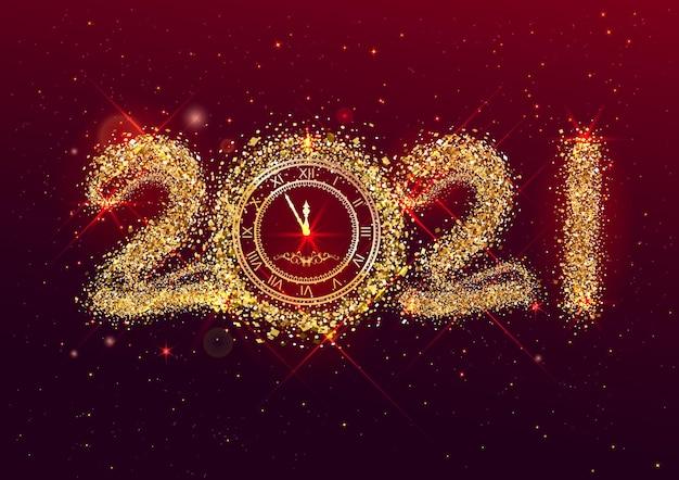 Modello di biglietto di auguri di felice anno nuovo.