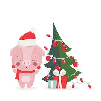 Cartolina d'auguri di felice anno nuovo con maiale carino con albero del nuovo anno. simbolo cinese dell'anno 2019. design per stampa, poster, invito, t-shirt. illustrazione vettoriale.