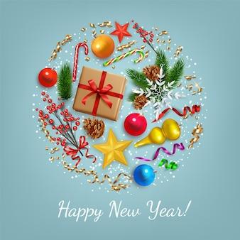 Cartolina d'auguri di felice anno nuovo con decorazioni in cerchio