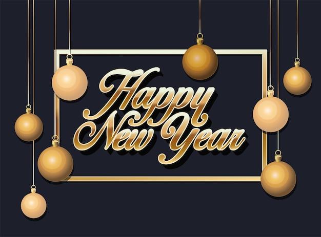 Cartolina d'auguri di felice anno nuovo con scritte in oro sul nero