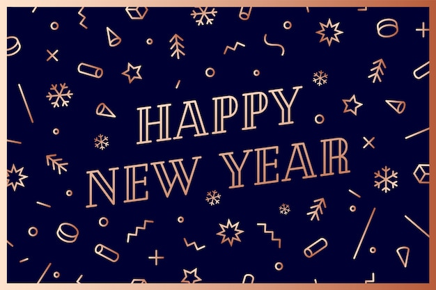 Felice anno nuovo. biglietto di auguri con scritta happy new year. oro brillante geometrico per felice anno nuovo o buon natale. sfondo vacanza, biglietto di auguri. illustrazione