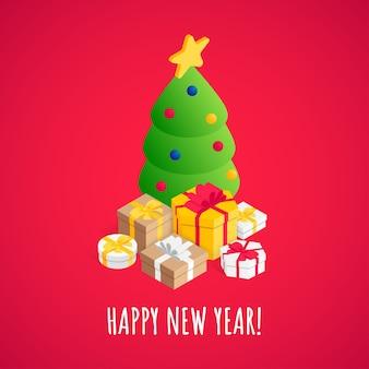 Cartolina d'auguri di felice anno nuovo con albero di natale decorato isometrico, scatole regalo