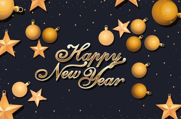 Cartolina d'auguri di felice anno nuovo con scritte in oro lucido sul nero
