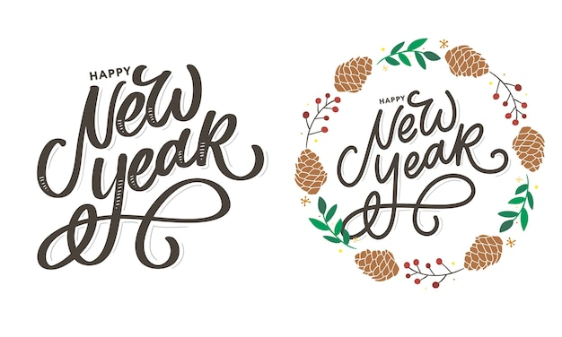 Auguri di felice anno nuovo. elementi di design disegnati a mano. set di lettere scritte a mano moderne pennello