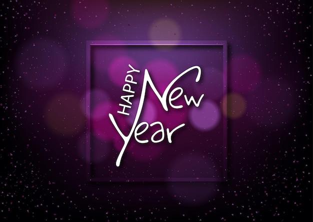 Auguri di felice anno nuovo con testo calligrafico su sfondo viola scuro con effetto bokeh