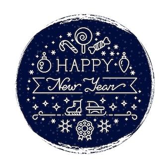 Felice anno nuovo sfondo grunge con nevicate e le icone di linea isolate su bianco