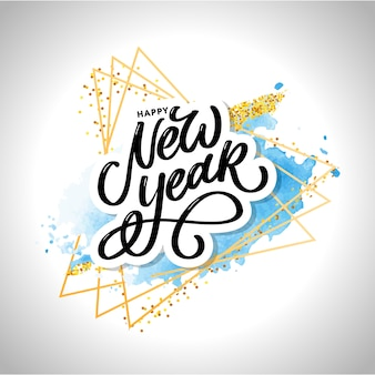 Felice anno nuovo scritte a mano moderna pennello lettering