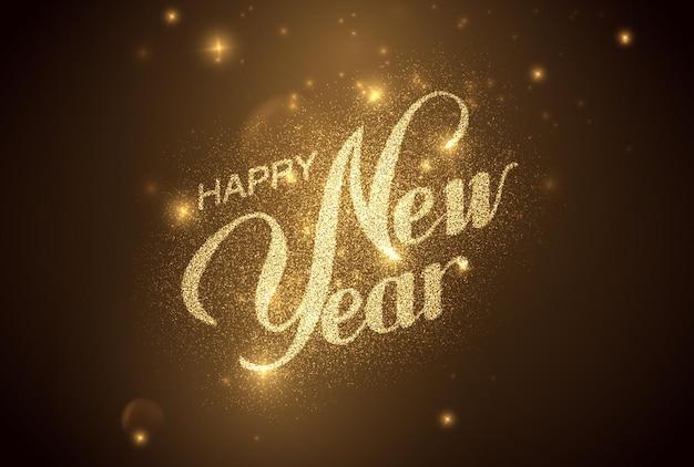 Felice anno nuovo striscione per le vacanze fatto di stelle incandescenti e scintillii