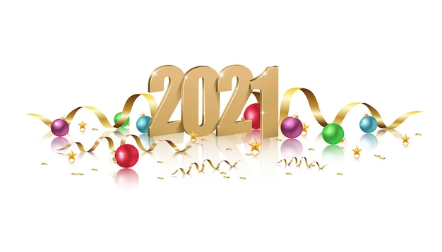 Felice anno nuovo, illustrazione di numeri d'oro con palle di natale, invito a una celebrazione di new york su sfondo bianco.
