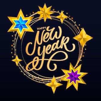 Felice anno nuovo lettering composizione con stelle e scintillii.
