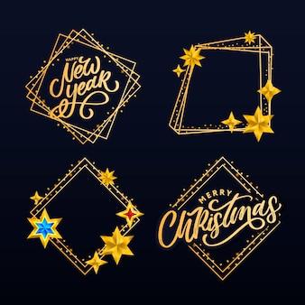Felice anno nuovo. lettering composizione con stelle e scintille.