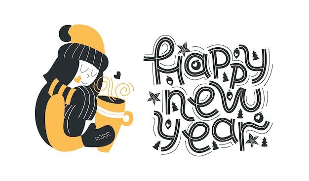 Buon anno. lettere. una ragazza con una bevanda calda.