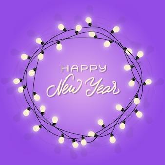 Felice anno nuovo scritte in ghirlanda lampada incandescente ghirlanda decorativa ghirlanda con lampadine vettore