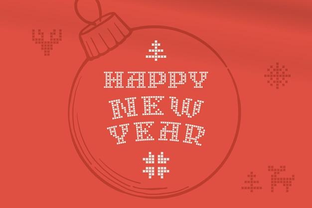 Le scritte di felice anno nuovo sono fatte di maglie rotonde spesse segno di stile piatto con una serie di icone bonus