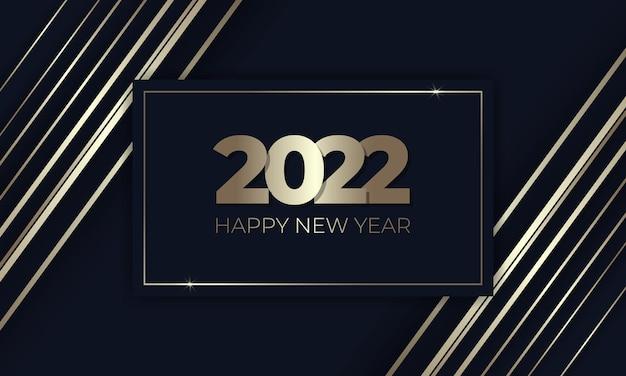 Felice anno nuovo lussuoso sfondo blu scuro e oro elegante