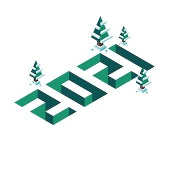 Felice anno nuovo e buon natale 2021 banner in isometria come illustrazione tridimensionale e volumetrica con alberi di pino e neve. verde