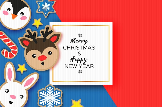 Cartolina di felice anno nuovo e buon natale. stile del taglio della carta del pan di zenzero di natale. fiocchi di neve. animali impostati cervi, conigli, pinguini. cornice quadrata. vacanze invernali.
