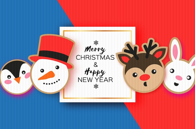 Cartolina di felice anno nuovo e buon natale. stile del taglio della carta del pan di zenzero di natale. pupazzo di neve. animali impostati cervi, conigli, pinguini. cornice quadrata. vacanze invernali.