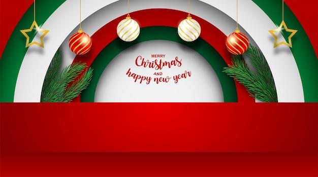 Felice anno nuovo e buon natale. design con albero di natale, stella e supporto del prodotto su sfondo rosso. vettore. illustrazione.