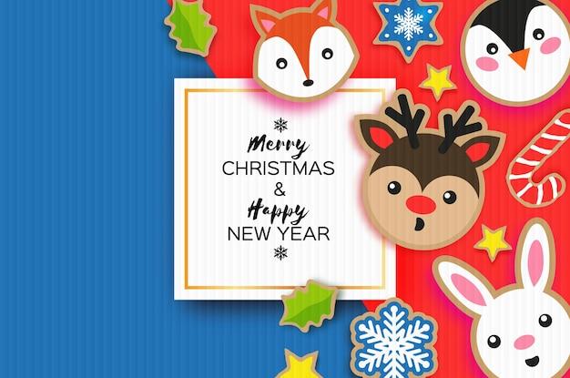 Cartolina d'auguri di felice anno nuovo e buon natale. stile del taglio della carta del pan di zenzero di natale. animali. cervo, volpe, coniglio, pinguino. cornice quadrata. vacanze invernali.