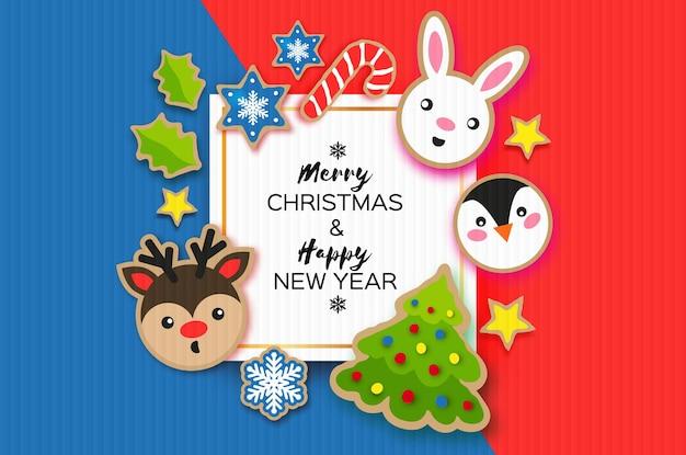 Cartolina d'auguri di felice anno nuovo e buon natale. stile del taglio della carta del pan di zenzero di natale. animali. cervo, coniglio, pinguino. cornice quadrata. vacanze invernali.