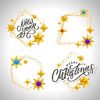 Iscrizione disegnata a mano di felice anno nuovo e buon natale con cornice dorata e stelle