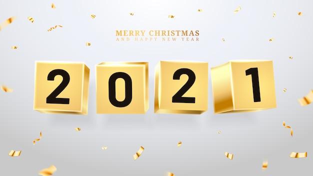 Felice anno nuovo e buon natale fatto di mattoni o cubi dorati, blocchi e numeri