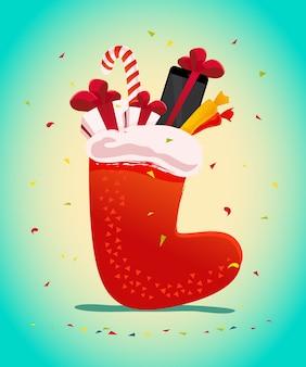Felice anno nuovo e buon natale presente, regalo nell'illustrazione tradizionale della borsa del calzino del regalo. . tablet e smartphone. elemento banner vendita invernale.
