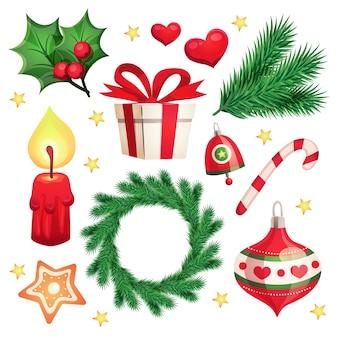 Felice anno nuovo e buon natale con elementi decorativi e oggetti