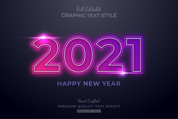 Felice anno nuovo al neon modificabile effetto testo stile carattere