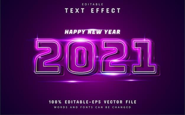 Felice anno nuovo effetto di testo al neon con sfumatura viola