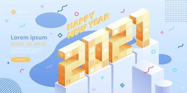 Felice anno nuovo. nuove idee innovative. tecnologie digitali. tecnologia isometrica per banner e poster di vacanze di capodanno. illustrazione con elementi geometrici alla moda