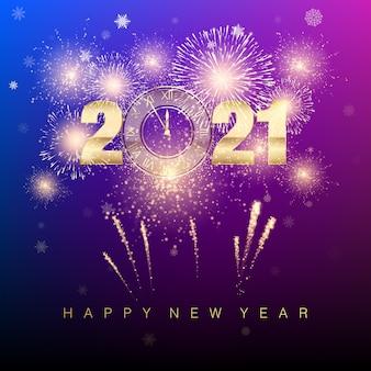 Felice anno nuovo. banner di capodanno con numeri d'oro e fuochi d'artificio. disegno di testo del biglietto di auguri.