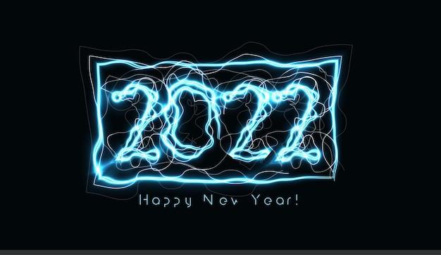 Felice anno nuovo numera un fulmine blu realistico su sfondo nero per biglietto di auguri opuscolo o