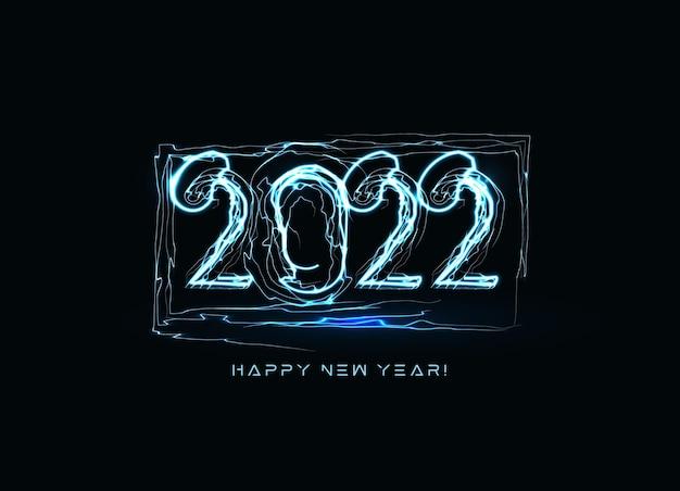 Il felice anno nuovo numera un fulmine blu realistico su sfondo nero per biglietto di auguri opuscolo o
