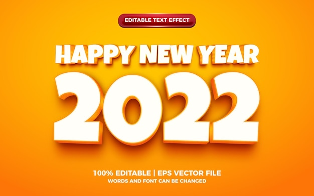 Effetto di testo modificabile del fumetto 3d arancione felice anno nuovo