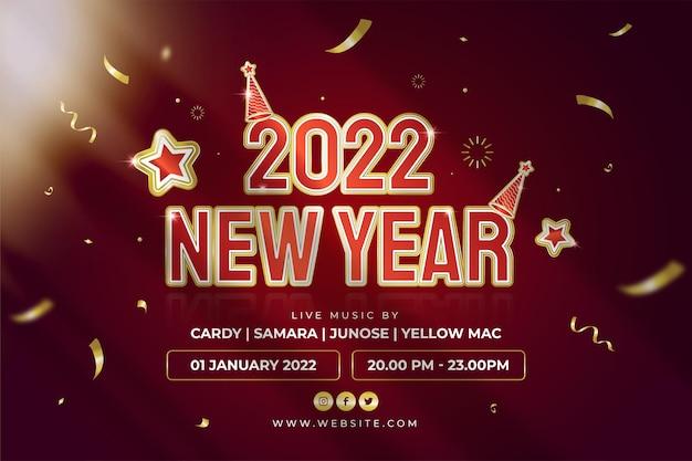 Felice anno nuovo festa 2022 poster o banner web con sfondo di coriandoli di testo dorato