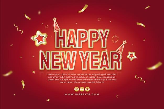 Felice anno nuovo festa 2022 poster o banner web con coriandoli di testo dorato su sfondo rosso