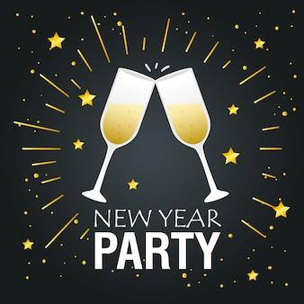 Felice anno nuovo party champagne coppe design, benvenuto festeggia e saluto