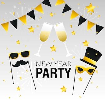 Felice anno nuovo party champagne coppe e maschere design, benvenuto festeggia e saluto