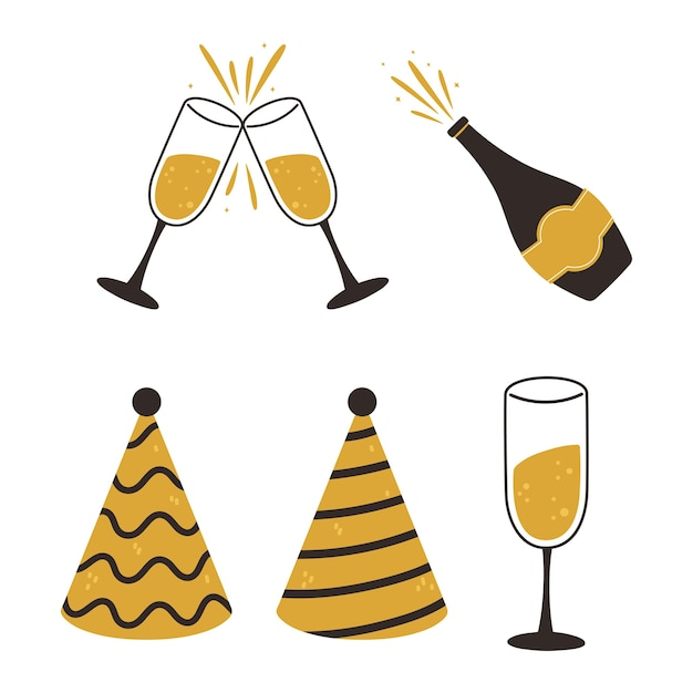 Felice anno nuovo, cappelli da festa bottiglia di champagne e tazze icone illustrazione vettoriale